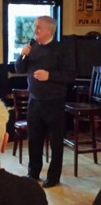 Jimmy sings for John O'Neil's birthday at Irish Times