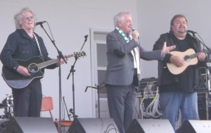 Derek, Jimmy and D'Arcy on stage at Ferryland